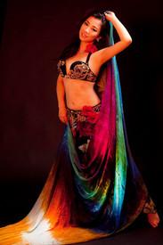 5mm Ultralight 3 yard Silk Belly Dance Veil, in PEACOCK