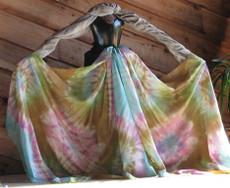 ORDERABLE: 5mm Ultralight 3 yard Silk Belly Dance Veil, in KALEIDOSCOPE