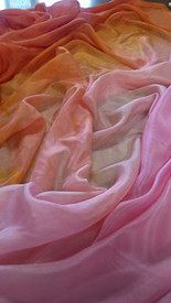 5mm Ultralight 3 yard Silk Belly Dance Veil, in ZAHARA DAWN