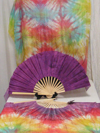 ORDERABLE:  Standard Long Pair of FANS 5mm Silk Habotai fans in SPIRAL RAINBOW with ORCHID HAND