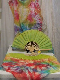 ORDERABLE: Inv #332*  Standard Long Pair of 5mm Silk Habotai fans in, SPIRAL RAINBOW with CHARTRUESE HAND, Small/Medium Stave