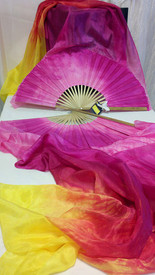 ORDERABLE: Inv #308  Standard Long Pair of 5mm Silk Habotai fans in, SUNRISE Veil, AMETHYST Hand, Med Stave, 36x60 inches/1.52 m
