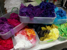 We have silk scrap in amazing Fairy Cove Colors!  Very nice quality to work with.