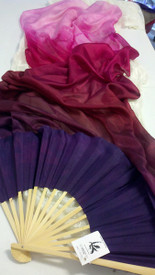 ORDERABLE: Inv #255  Long Pair of Fans in JUICY PINKS with HYACINTH HAND, Med Stave, 36x60 inches/1.52 m