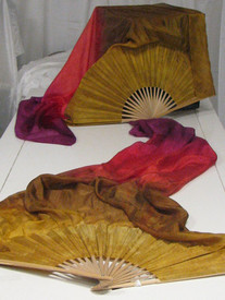 ORDERABLE: Inv #194  Long Pair of Fans in COPPER SUNSET with GOLD HAND Med Stave, 36x60 inches