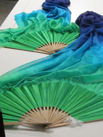 ORDERABLE: Inv #176  Long Pair of Fans  Isis Veil, Vivid Green Hand, Med Stave, 36x60 inches/1.65 m
