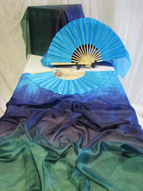 "ORDERABLE: Inv #530   Long PAIR Fans--EMERALD FANTASY Veil, Delphinum Hand, Med Stave, 36x60""/1.13x1.38m"