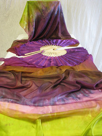"ORDERABLE: Inv #492  Long Pair of Fans--The Enchantress Veil, Plum Blossom Hand, Med Stave, 36x60""/..89x1.52m"