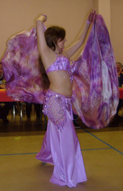 ORDERABLE:  5mm Ultralight 3 yard Silk Belly Dance Veil, in ORCHID ON PINKS