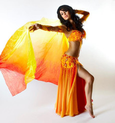 AUTUMN PREORDER VEIL OFFER:   5mm Ultralight 3 yard Silk Belly Dance Veil, in HERMES