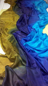 AUTUMN PREORDER VEIL OFFER:  5mm Ultralight 3 yard Silk Belly Dance Veil, in ROYAL FANTASY + GOLD