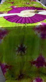 ORDERABLE: Standard Long Pair of Fans -VERNAL EQUINOX WITH AMETHYST HAND, Medium Stave, 36x61 inches/1.55 m