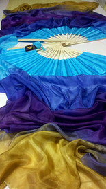 ORDERABLE: Standard Long Fan Pair in,ROYAL FANTASY + GOLD WITH DELPHINIUM HAND, Medium Stave