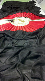 INSTOCK: Inv# 1468,  5mm Silk Habotai Standard Long Fan Pair in, BLACK with POPPY HAND, Med Stave