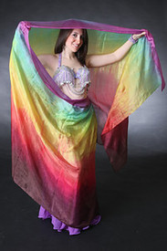 5mm Ultralight 3 yard Silk Belly Dance Veil, in CHOCOLATE RAINBOW