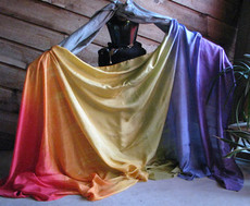 ORDERABLE: 5mm Ultralight 3 yard Silk Belly Dance Veil, in VERTICAL CLASSIC RAINBOW