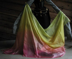 5mm Ultralight 3 yard Silk Belly Dance Veil, in MERRY MEADOWS RAINBOW