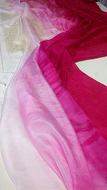 WINTER  PREORDER VEIL OFFER: 5mm Ultralight 3 yard Silk Belly Dance Veil, in TONAL FADE TO FUCHSIA