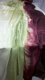 WINTER PREORDER VEIL OFFER:   5mm Ultralight 3 yard Silk Belly Dance Veil, in SUMMER HOLLYHOCKS
