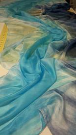 WINTER PREORDER VEIL OFFER: 5mm Ultralight 3 yard Silk Belly Dance Veil, in TONAL MID BLUES