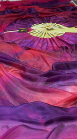 ORDER: Inv# 1811, 5mm Silk Habotai Standard Long Fan Pair in, PLUM PASSIONS with PLUM PASSION HAND, SM/Med Stave