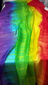ORDERABLE:  5mm Ultralight 3 yard Silk Belly Dance Veil, in JEWELED RAINBOW