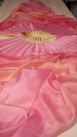 INSTOCK READY2SHIP:  Standard Long Pair of Fans - TONAL PINKS WITH PINK HAND, Medium Stave, 36x61 inches/1.55 m