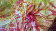 ORDERABLE: 5mm Ultralight 3 yard Silk Belly Dance Veil, in STRAWBERRY + CHARTREUSE SPIRAL