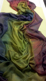 WINTER PREORDER VEIL OFFER:   5mm Ultralight 3 yard Silk Belly Dance Veil, in GOTHIC RAINBOW