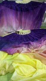 ORDERABLE: Inv #2674, Standard PAIR Long Fan 36x60 in, VIOLET PANSY with VIOLET PURPLE HAND, Sm/Med Stave