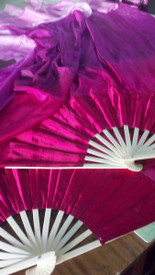 ORDERABLE:   60inch  STANDARD LONG  FAN PAIR, FRENCH FUCHSIA with AMETHYST or  DK FUCHSIA HAND, Sm/Med Stave