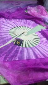 ORDERABLE:   60inch  STANDARD LONG  FAN PAIR, new!! LILAC LAVENDAR  FUSION W/ PLUM BLOSSOM HAND, Sm/Med Stave