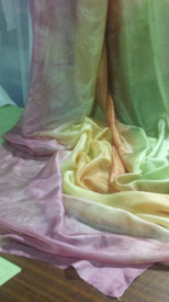 ORDERABLE:  5mm Ultralight 3 yard Silk Belly Dance Veil, in LIGHT MOSS AND ROSES