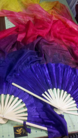 ORDERABLE:   60inch  STANDARD LONG  FAN PAIR, new! PARADISE SKY+ SUN w/ HYACINTH HAND, Sm/Med Stave