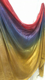 INSTOCK: 6mm Midweight 3 yard Silk Belly Dance Veil, in SOFT NAVY GOLD RAINBOW