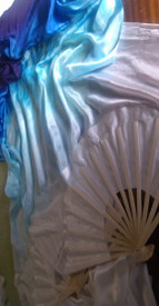 ORDERABLE: 5mm Silk Habotai Standard Long Fan Pair in, WHITE IRIS with WHITE HAND, SM/Med Stave