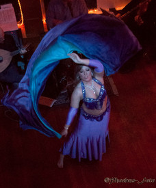ORDERABLE:   5mm Ultralight 3 yard Silk Belly Dance Veil, in ROYAL FANTASY