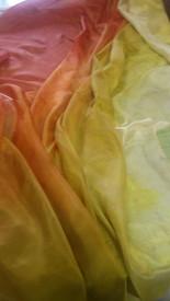 ORDERABLE: 5mm Ultralight 3 yard Silk Belly Dance Veil, in APRICOT BRONZE KISS (NEW! Summer2014)