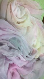 ORDERABLE:  5mm Ultralight 3 yard Silk Belly Dance Veil, in VANILLA CLOUD RAINBOW