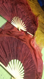 ORDERABLE:  Standard Long Fan Pair in GARNET BURGUNDY FIRE TO GOLD and 12mm SATIN  HAND