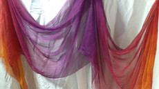 InStock: 3.5mm  Silk Gauze 36x126 (narrow,3.5yd) dyed in TROPICAL SUNSET, double vertical ORCHID CENTER