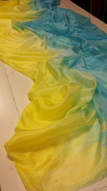 SPRING PREORDER VEIL OFFER   5mm Ultralight 3 yard Silk Belly Dance Veil, in SUN 'N' SKY