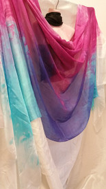 ORDERABLE: NEW SPRING 2015 PASSION SERIES!!  5mm Ultralight 3 yard Silk Belly Dance Veil, in  SKY and FLOWER