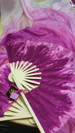 $99 Fan Offer:  Standard PAIR Long Fan 36x60 in, SPRING ROSES TO WHITE with AMETHYST PINK HAND