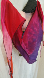 INSTOCK:  *LARGE 20X72X20INCH 1-ONLY*  DOUBLE SIDED  and REVERSIBLE TRIANGLE SCARF  in  JUICY PINKS and TROPICAL SUNSET