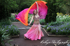 ORDER:   5mm Ultralight 3 Yard Silk Belly Dance Veil, in AMARAS PINK TROPICAL SUNSET