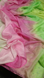 SPRING VEIL OFFER :    5mm Ultralight 3 yard Silk Belly Dance Veil, in SPRING PINKS MINT MEADOW