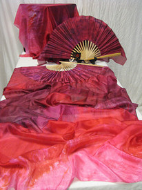 ORDERABLE:   FAN PAIR STANDARD in NEW! BLUSHING ROSES with  BLUSHING ROSES RED SATIN  HAND