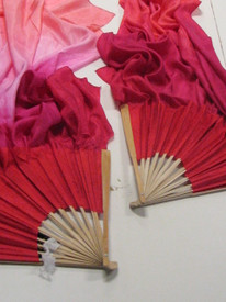 ORDERABLE:  MED stave, Long Pair of Fans--SWEETHEART veil, ROSE Hand, 36x60 inches