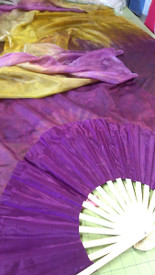 ORDERABLE: Med stave, STANDARD Long Pair of Fan MAGENTA TO GOLD veil, MAGENTA Hand, 60inches